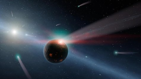 NASA undated handout image shows an artist's conception of a storm of comets around a star near our own, called Eta Corvi. REUTERS/NASA/JPL-