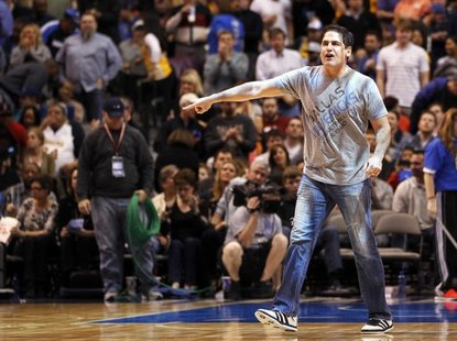 Dallas Mavericks owner Mark Cuban reacts at the end of the first half of their NBA basketball game against the Los Angeles Lakers in Dallas,