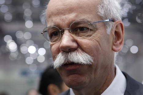 Daimler AG Chief Executive Dieter Zetsche answers a reporter questions after the presentation of the new cars during the first media day of