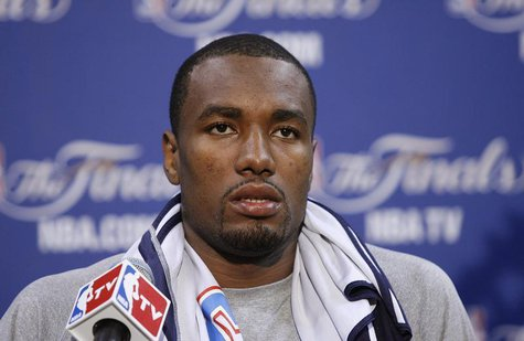 Oklahoma Thunder's Serge Ibaka speaks to the media before practice for Game 3 of the NBA basketball finals in Miami, Florida June 16, 2012.