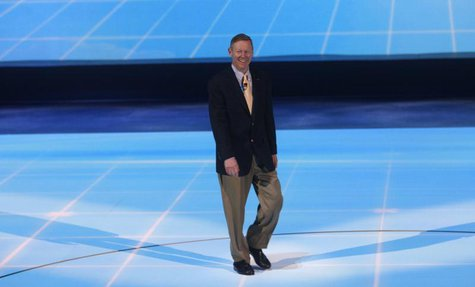 Ford Chief Executive Officer Alan Mulally arrives for his company's press availability at the North American International Auto Show in Detr