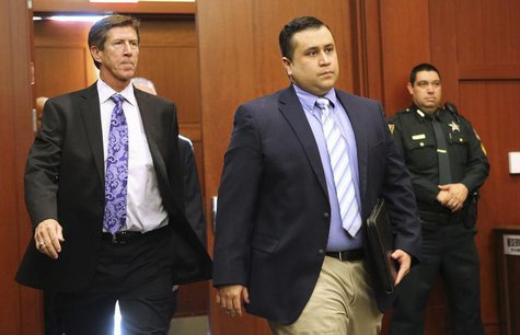 George Zimmerman arrives with his lead counsel, Mark O'Mara (L) for a hearing in Seminole circuit court in Sanford, Florida February 5, 2013