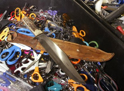 Knives, scissors and other prohibited items that were confiscated at the airport during security checks by Transportation Security Administr