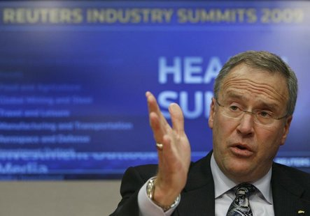 John Lechleiter, chairman, president, and chief executive officer of Eli Lilly and Company, speaks at the Reuters Health Summit in New York,