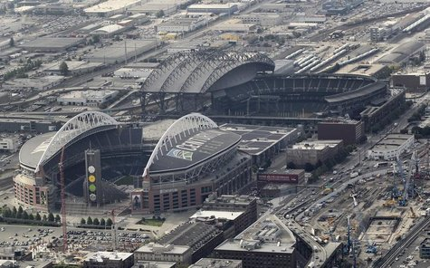This aerial view looking south shows the cluster of Seattle's current NFL and MLB professional sports stadiums and also the adjacent locatio
