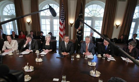 U.S. President Barack Obama participates in his first cabinet meeting of his second term in the Cabinet Room of the White House in Washingto