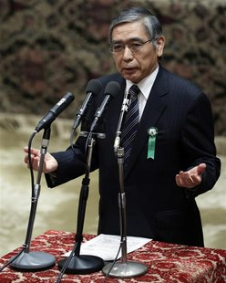 The Japan government's nominee for the Bank of Japan (BOJ) governor Haruhiko Kuroda delivers a speech at a hearings session at the lower hou