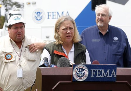 U.S. Senator Mary Landrieu (D-LA) speaks during a news conference after Hurricane Isaac in Belle Chasse, Louisiana, August 31, 2012. REUTERS