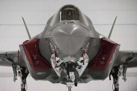 A U.S. Marine F-35B Joint Strike Fighter Jet sits in a hangar after the roll-out Ceremony at Eglin Air Force Base in Florida February 24, 20