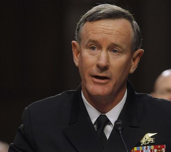 U.S. Navy Admiral William McRaven testifies before the Senate Armed Services Committee in Washington March 5, 2013, with regard to the Defen