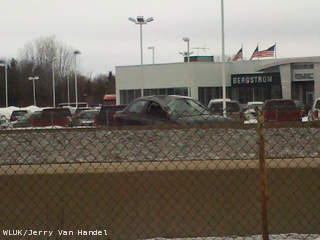 A car involved in a crash on Hwy. 41 in Grand Chute is seen, March 6, 2013. (courtesy of FOX 11).