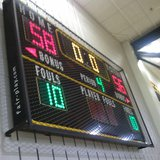 The scoreboard at Hamilton High School after the Hawkeyes' 58-56 win over Holland Christian on Mar. 6, 2013, ending a 17-game losing streak in the MHSAA boys' basketball tournament dating back to 1996.