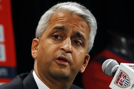 U.S. Soccer President Sunil Gulati speaks at a news conference where Former German soccer star Juergen Klinsmann was named as the new head c