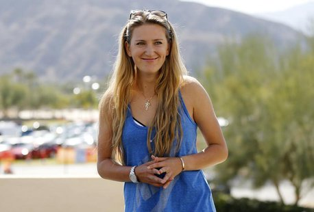 Victoria Azarenka of Belarus is interviewed during a media availability at the BNP Paribas Open WTA tennis tournament in Indian Wells, Calif