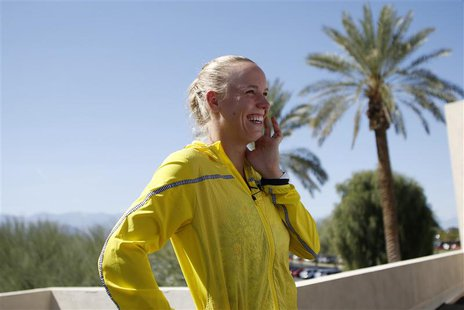 Caroline Wozniacki of Denmark smiles as she is interviewed during a media availability at the BNP Paribas Open WTA tennis tournament in Indi