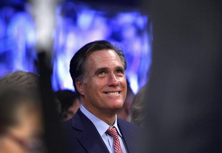 Former Republican U.S. presidential candidate Mitt Romney waits for the start of a welterweight bout between Manny Pacquiao of the Philippin