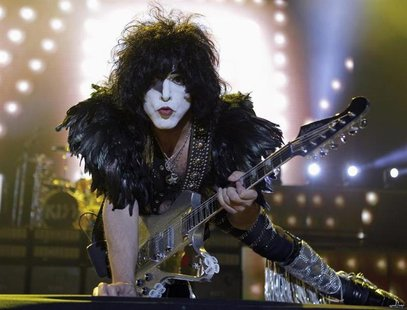 Paul Stanley of rock band Kiss performs during a concert on their Latin America tour, at the Jockey Club in Asuncion November 12, 2012. REUT