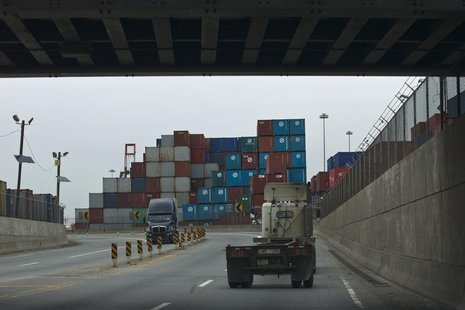 Trucks drive on a street at Port Elizabeth in New Jersey February 28, 2013. REUTERS/Eduardo Munoz