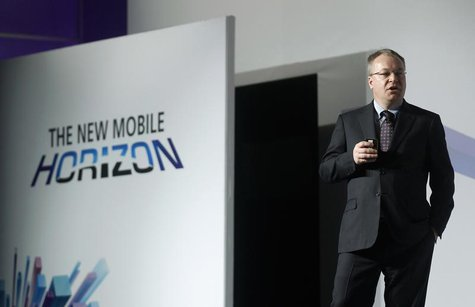 Nokia's President and CEO Stephen Elop gestures during a news conference at the Mobile World Congress at Barcelona, February 26, 2013. REUTE