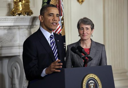 U.S. President Barack Obama announces the nomination of Sally Jewell, CEO of Recreational Equipment Inc., to Interior Secretary at the White