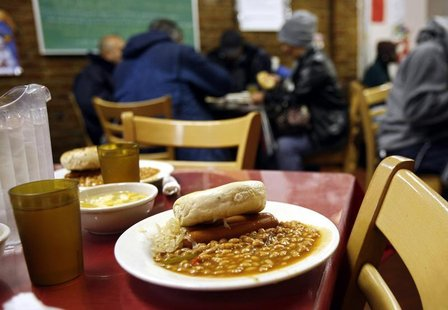 A lunch meal portion waits at the Part of the Solution (POTS) soup kitchen and food pantry in the Bronx borough of New York, in this file im