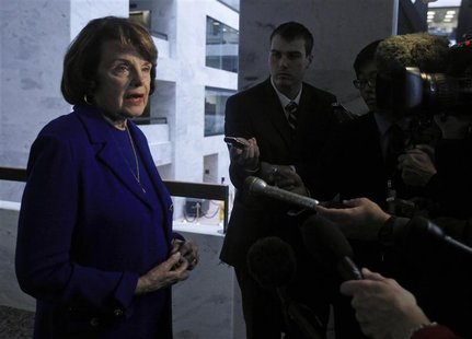Senator Dianne Feinstein (D-CA), the chair of the United States Senate Select Committee on Intelligence, speaks to the media regarding confi