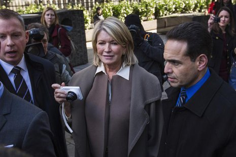 Martha Stewart holds a camera as she departs the New York state Supreme Court after testifying in Manhattan March 5, 2013. Stewart was quest