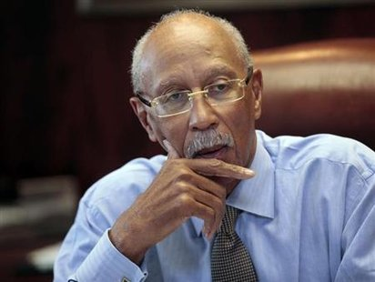 City of Detroit Mayor Dave Bing talks about the future of the city during an interview in his office in Detroit, Michigan February 5, 2013. Credit: Reuters/ Rebecca Cook