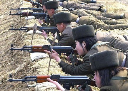 North Korean soldiers attend military training in this picture released by the North's official KCNA news agency in Pyongyang March 7, 2013.