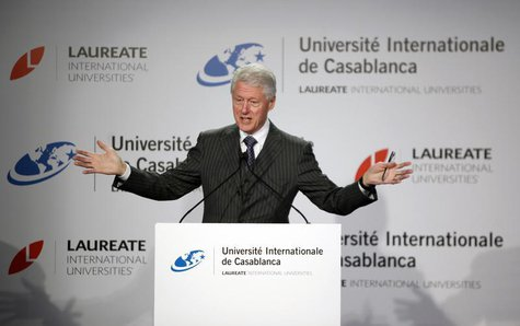 Former U.S. President Bill Clinton speaks during a news conference at the international university in Casablanca February 24, 2013 REUTERS/S