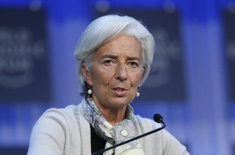 Christine Lagarde (L) chief of the International Monetary Fund (IMF) attends the annual meeting of the World Economic Forum (WEF) in Davos J