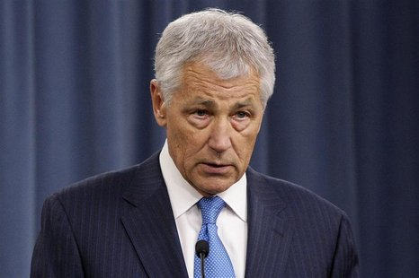 U.S. Secretary of Defense Chuck Hagel speaks during a news conference about the effects of the 'sequester' on military operations, at the Pe