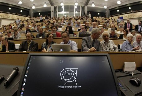 A computer screen is pictured before a scientific seminar to deliver the latest update in the search for the Higgs boson at the European Org