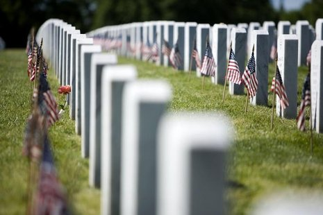 Flags stand in front of graves at Arlington National Cemetery ahead of Memorial Day in Washington, DC, May 24, 2008. REUTERS/Joshua Roberts