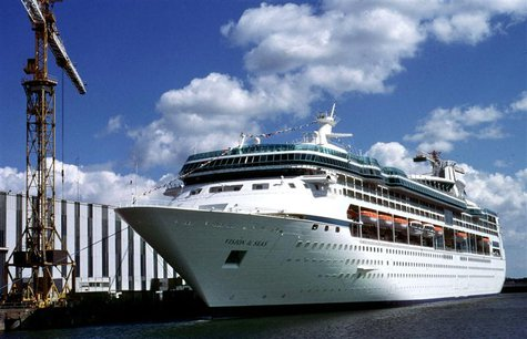 "The ocean liner ""Vision of the Seas"" of The Royal Caribbean Cruise Ltd. sits quayside in Saint Nazaire, western France, in this handout pict"