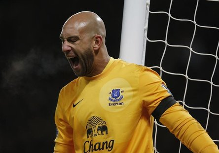 Everton's goalkeeper Tim Howard reacts during the English Premier League soccer match against Manchester United at Old Trafford in Mancheste