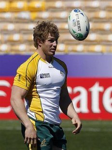 Australia Wallabies' David Pocock takes part in their Captain's run in Nelson September 30, 2011. REUTERS/Brandon Malone