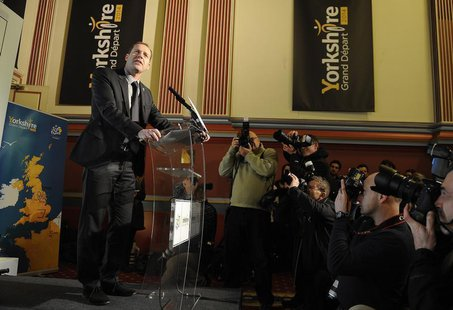Tour De France race director Christian Prudhomme announces the route of the 2014 tour's Grand D'epart during a media conference in Leeds, no