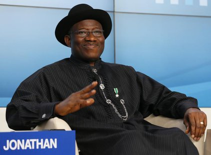 Nigeria's President Goodluck Ebele Jonathan attends the annual meeting of the World Economic Forum (WEF) in Davos January 23, 2013. REUTERS/