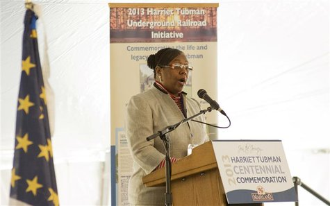 Harriet Tubman's great-great-great-neice, Patricia Ross-Hawkins, gives a speech during the groundbreaking of the Harriet Tubman Underground