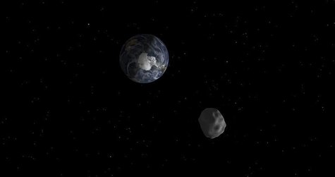 The passage of asteroid 2012 DA14 through the Earth-moon system, is depicted in this handout image from NASA. REUTERS/NASA/JPL-Caltech/Hando