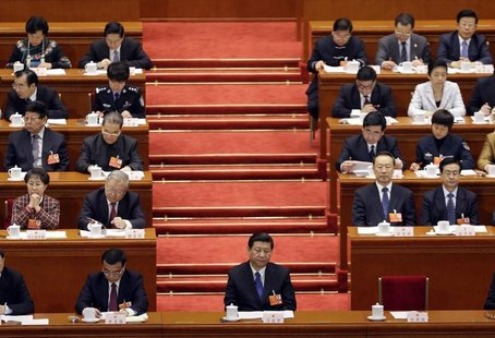 China's Communist Party Chief Xi Jinping pauses as China's National People's Congress Chairman Wu Bangguo delivers a work report during a pl