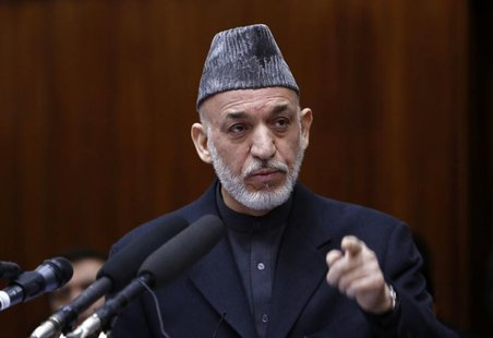Afghanistan's President Hamid Karzai speaks during the opening ceremony of the third year of the Afghanistan parliament in Kabul March 6, 20