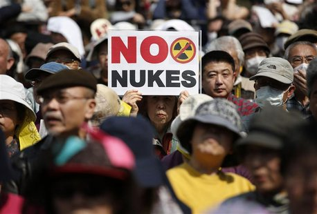 Anti-nuclear protesters attend a rally in Tokyo March 10, 2013, a day before the second-year anniversary of the March 11, 2011 earthquake an
