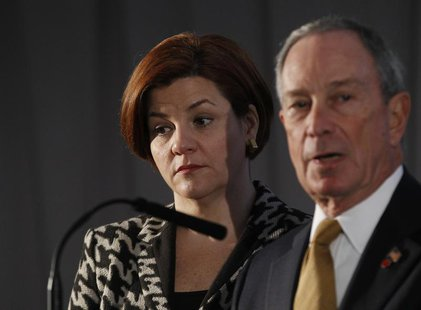 New York City Mayor Michael Bloomberg and City Council Speaker Christine Quinn speak during a news conference in New York December 4, 2012.