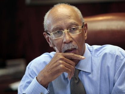 City of Detroit Mayor Dave Bing talks about the future of the city during an interview in his office in Detroit, Michigan February 5, 2013.
