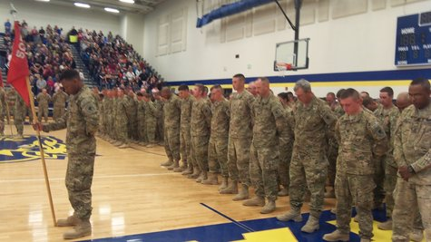 The 160 members of the 507th Engineer Battalion of the Michigan National Guard in final formation.