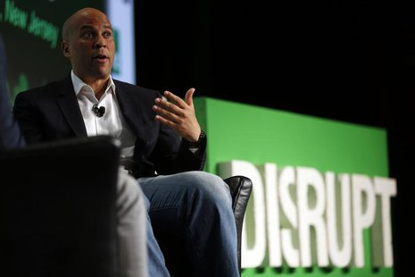 Newark, New Jersey Mayor Cory Booker speaks during day one of TechCrunch Disrupt SF 2012 event at the San Francisco Design Center Concourse