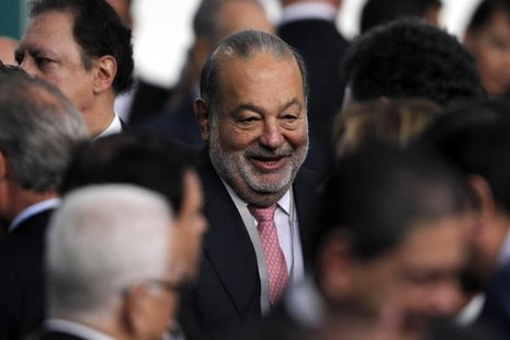 Mexican businessman Carlos Slim attends as an official guest the speech of Mexico's new President Enrique Pena Nieto at the National Palace