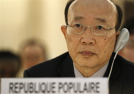 So Se Pyong, North Korea's ambassador to the U.N. in Geneva listens to the report of U.N. Special Rapporteur on North Korea, Marzuki Darusma